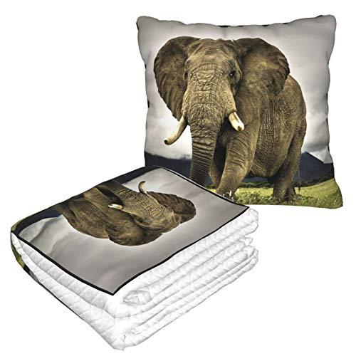 Manta de almohada de terciopelo suave, 2 en 1 con bolsa suave, diseño de elefante, orejas grandes, para casa, avión, coche, viajes, películas