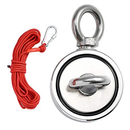 CO-Z 500KG Neodym Magnet Super Stark Doppelseitig Ösenmagnet mit 10M Seil Magnet Angeln zum Fischen Wissenschaft Industrie Bergung (500KG Zugkraft)