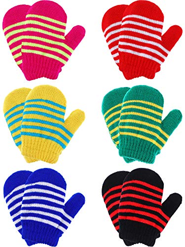 Boao 6 Pairs Stretch Mittens Winter Warm Knitted Gloves for Halloween Party Kids Toddler Supplies (Color 1)