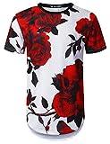 URBANTOPS Mens Hipster Hip Hop Big Red Rose Floral Longline T-Shirt White, XXL