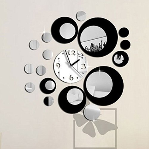 Kicode Negro y Plata Diseño Moderno Etiqueta engomada desprendible de la Pared del Espejo del Reloj del Arte de DIY Decoración del hogar
