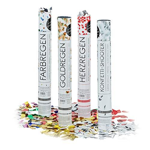 Relaxdays – Conjunto de 20 cañones de Confeti XL, cañón Confeti para Bodas y cumpleaños, Efecto Altura de 6 a 8 Metro, metálicos