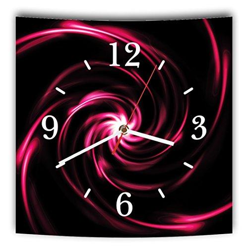 Homeyourself LAUTLOSE Designer Wanduhr mit Spruch Schwarz pink modern grau weiß modern Dekoschild Abstrakt Bild 29,5 x 28cm