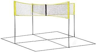 Easy-topbuy Red De Voleibolm, Red De Vóley Playa De Cuatro Plazas Red De Bádminton De Tenis Impermeable PE Portátil con Poste para La Playa Al Aire Libre, 150x50cm