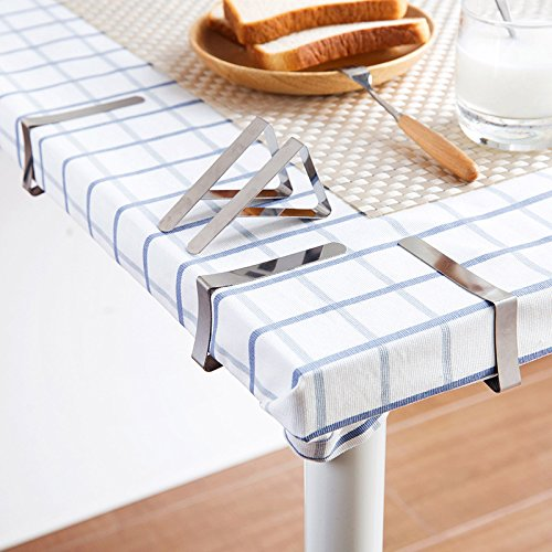 Tablecloth Clips Picnic Tablecloth Clips Table Cloth Clips for Picnic Tables Stainless Steel Picnic Table Cloth Holders Table Cover Clips Clamps - 12 Pack