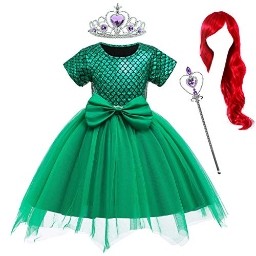 Party Chili Princess Mermaid Costume Birthday Party Dress with Red Wigs and Tiara Wand for Toddler Girls 2-3 Years (2T 3T)