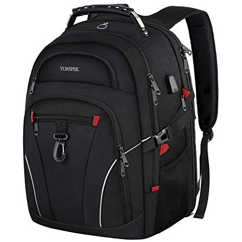 YOREPEK Laptop Backpack,TSA Travel Laptop Backpack with USB Charging Port & Headphone Hole,Business Laptop Backpack 17 inch Men Women College large Computer Backpack School Bag Rucksack Daypack,Black