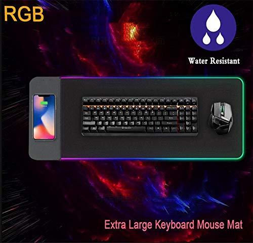 Muis Pad Gaming RGB,Toetsenbord Mat Oversized Desktop LED Mousepad Met Draadloze Oplader Waterdichte Extra Grote Toetsenbord Muis Mat