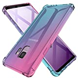 Galaxy S9 Case Clear Cute Gradient Shockproof Bumper Protective Case for Samsung Galaxy S9 Soft TPU Slim Fit Flexible Cell Phone Back Covers for Women Girls Rubber Silicone (Pink/Blue)