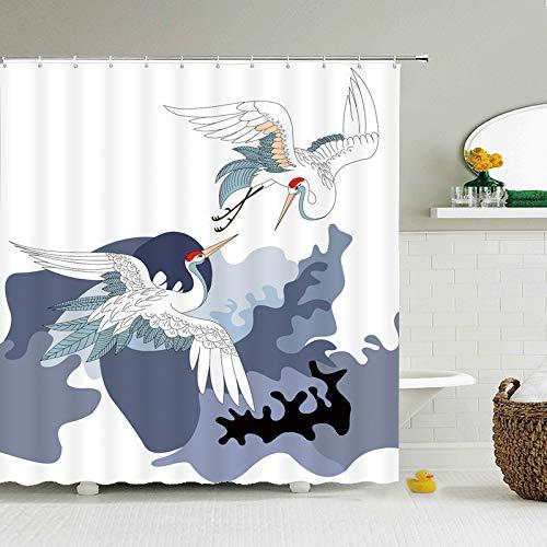 DJINGSN Bandera de Carpa Japonesa, Cortinas de baño con Estampado de Gato de la Suerte de Estilo japonés, baño para baño, Cubierta, Cortinas de Ducha