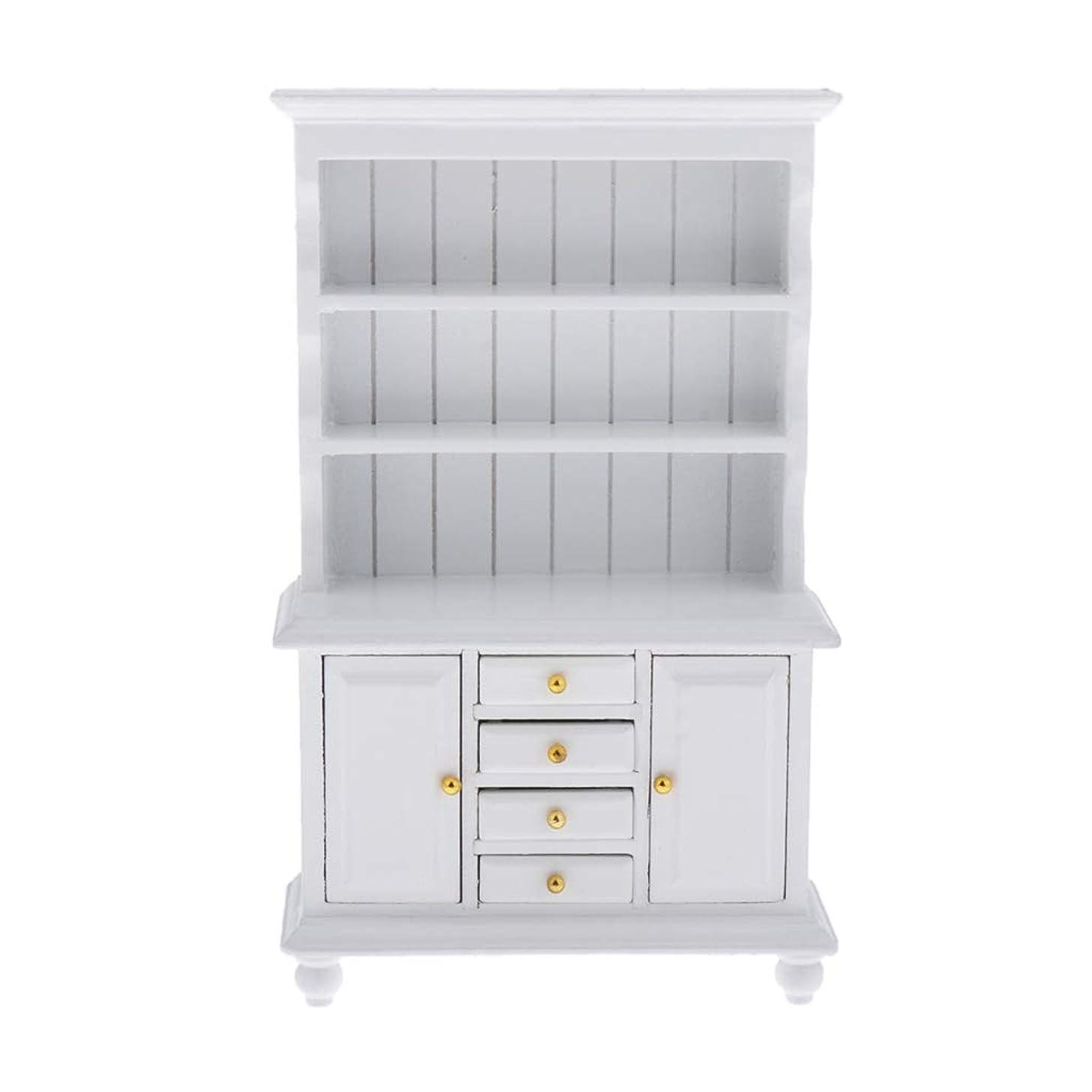 エキス期限メンバー食器棚 本棚 ドールハウス家具 3段キャビネット 人形家の装飾 ルーム装飾 1/12 全3色 - 白