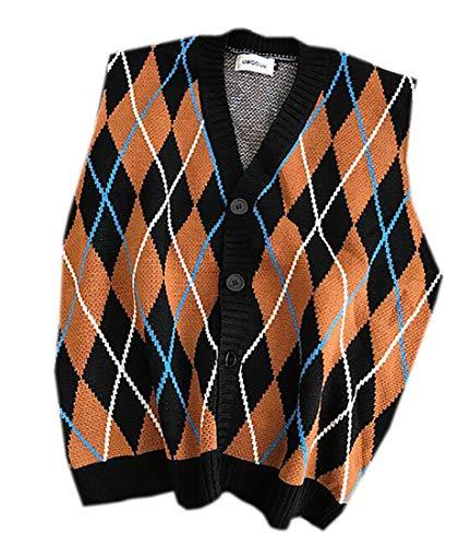 MU2M Men Button Up Winter Plaid V-Neck Sleeveless Cardigan Sweater Vest Waistcoat Black US L