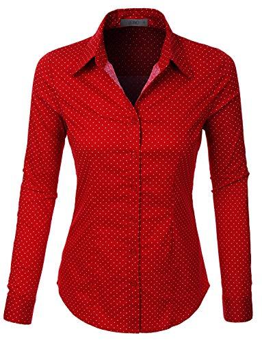 LE3NO Womens Polka Dots Button Down Long Sleeve Tailored Shirt