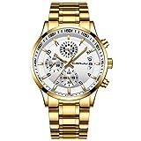 CRRJU Relojes de Pulsera para Hombres Impermeable Moda Analógico Cronómetro para Hombre de Cuarzo con Correa en Acero Inoxidable Negro Multifuncional Deportivos Reloj Regalos (Oro Blanco)