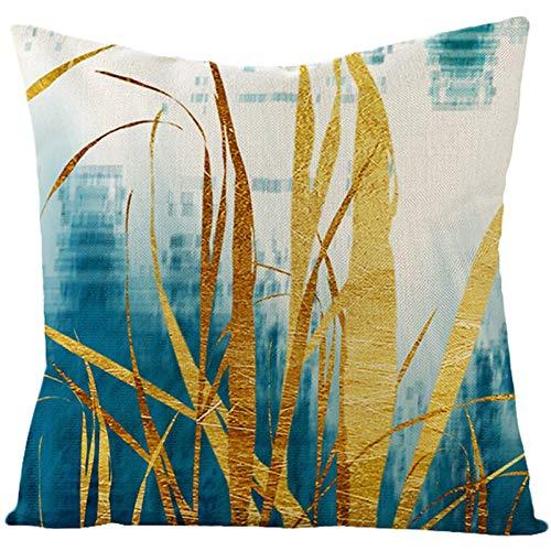 Aartoil Funda de almohada de 40,6 x 40,6 cm, funda de cojín de lino y algodón, funda de almohada, decoración del hogar, decoración para sofá, cama, silla, color dorado y azul, estilo 32
