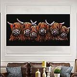 hetingyue Pintura de Animales de Vaca de Seis Cabezas de Arte Mural impresión de Arte Sala de Estar decoración de Dormitorio Pintura Pintura sin Marco 40X80CM