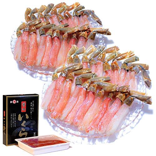 黒帯 北海道 海鮮 詰め合わせ ギフトセット いくら醤油漬け 生ズワイガニ 棒肉 ポーション (いくら500g ポーション1kg)