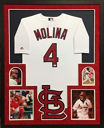 Yadier Molina St Louis Cardinals Autograph Signed Custom Framed AUTHENTIC Majestic Jersey Suede Matted JSA Certified Authentic