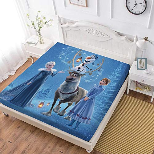 Fitted Sheet,Frozen 2 Anna Elsa Olaf Sven (5),Soft Wrinkle Resistant Microfiber Bedding Set,with All-Round Elastic Deep Pocket, Bed Cover for Kids & Adults,Queen (70x80 inch)
