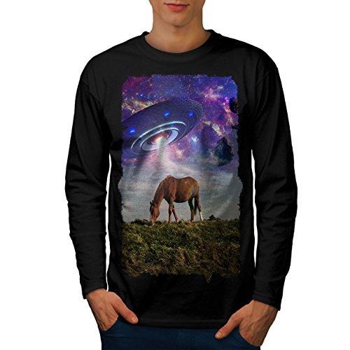 wellcoda Pferd UFO Raum Tier Männer Langarm T-Shirt Pferd Grafikdesign