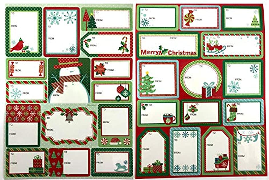 Tag Book 60 Count Jumbo Modern Colorful Xmas Designs for Kids and Adults - Red Green Blue Looks Great on Gifts/Presents, Wrapping Paper and Gift Bags