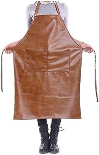 zhihui ZHIHUI Schürze Lederschürze Grillschürze BBQ Schürze Halter Neck Design Riemen Mit 2 Taschen Für Männer Und Frauen Color : A