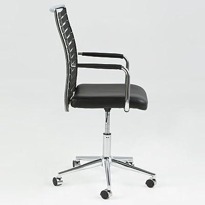 lounge-zone Silla de oficina Namur Espalda Cinturón GOMA Asiento Piel Sintética MARCO CROMADO 12942