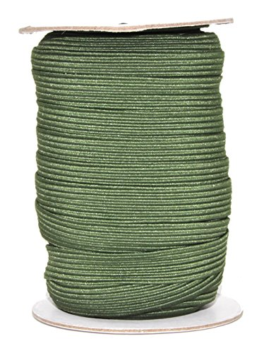 Mandala Crafts Flat Elastic Band, Braided Stretch Strap Cord Roll for Sewing and Crafting; 1/2 inch 12mm 20 Yards Olive Green