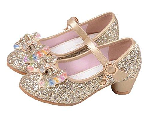 YOGLY Niñas Zapatos de Tacon de Lentejuelas Disfraz de Princesa Niña Zapatilla de Baile