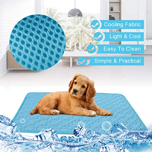 Cooling Mat for Large Dogs Cats Pet Washable Summer Cooling Pads Summer Sleeping Kennel Mat,Ice Silk Sleep Mat Pad Non-Toxic Sleep Bed Animal(XL 70100cm, Light Blue)