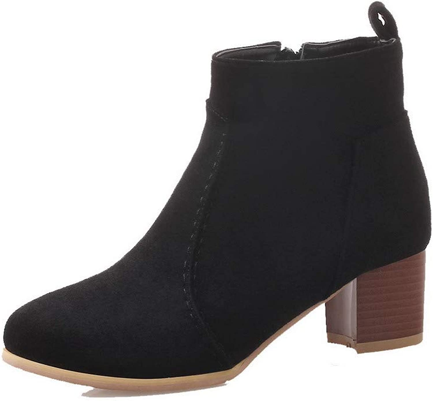 WeenFashion Women's Solid Kitten-Heels Closed-Toe Imitated Suede Zipper Boots, AMGXX122409