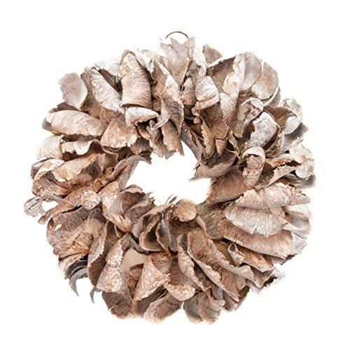 COURONNE Türkranz mit Aufhängevorrichtung 25cm in White wash, gefertigt aus Palmblättern - Deko aus Naturmaterialien als Herbstdeko im Shabby chic Design