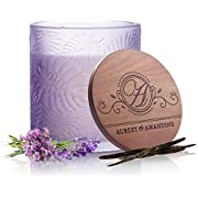 Aubert & Amandine Pastel Collection Luxury Scented Soy Candle for Stress Relief & Relaxation High Intensity Aromatherapy (Calm - Violet - Lavender Vanilla)