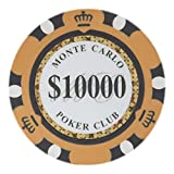 Brybelly Monte Carlo Premium Poker Chips Heavyweight 14-Gram Clay Composite – Pack of 50 ($10,000 Orange)