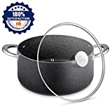 pots for induction oven - Stock Pot 6 Quart, Nonstick Dutch Oven with Tempered Glass Lid, Stone-Derived Granite Coating No-stick Cooking Pot, Induction Compatible, Oven Safe, Dishwasher Safe/Gift Box Included