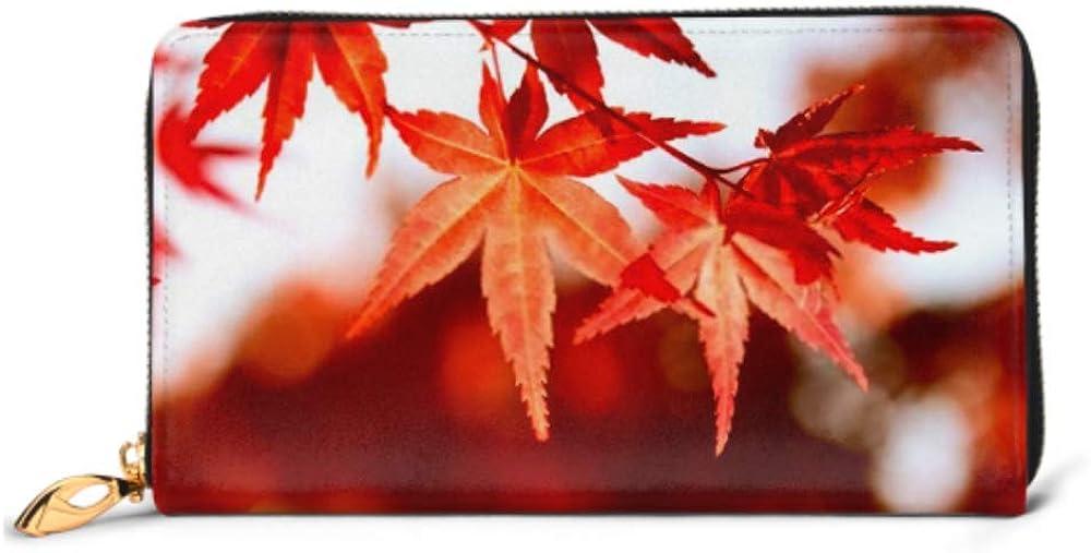 Fashion Handbag Zipper Wallet Maple Leaves Phone Clutch Purse Evening Clutch Blocking Leather Wallet Multi Card Organizer