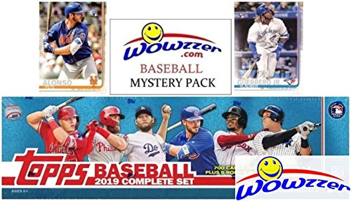 2019 Topps Baseball MASSIVE 706 Card Complete EXCLUSIVE Factory Set with (2) PETE ALONSO & (2) VLADIMIR JR ROOKIES & Bonus WOWZZER Mystery Pack with AUTO or MEM Card! Includes ALL Series 1 & 2 Cards! Chrome Football Retail Box