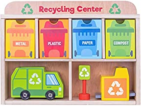 Reduce & Reuse Recycling Center Playset | Wooden Green Garbage Truck Toy, Sorting Bins, and Accessories | Safe, Natural Materials For Environmental Learning, Fine Motor Skills, and Play | 24 Pieces