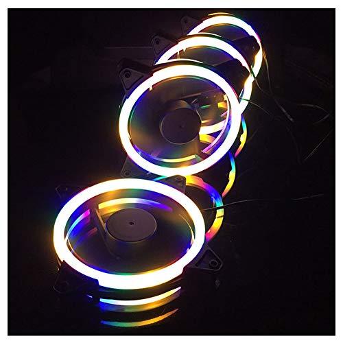 VIVITG Caso Aficionados, 120 mm Direccionable RGB Ordenador Personal Enfriamiento Aficionados Doble Encendiendo Lazo Ventiladores Silenciosos, Compatible Aura Sync, PWM Ventilador, (4 Paquetes)