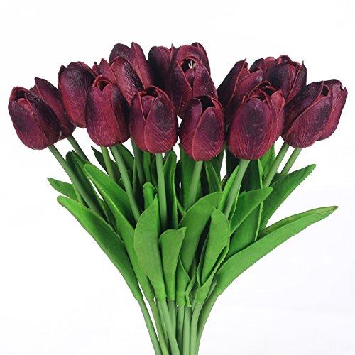JUSTOYOU Single Stem Latex Tulpe, realistisch, künstliche Blumen, Hochzeitsstrauß, Haus, Hotel, Gartendekoration, Event, Weihnachten, Weinrot, 20 Stück
