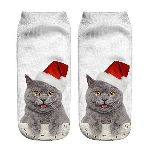 Popular Divertido Unisex Calcetines Cortos Calcetines De Navidad Calcetines Lindos Calcetines Para Mujer Gato 3D Impreso Tobillera Casual