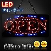 電光ホーム LEDサインボード OPEN 看板 [常時点灯 フラッシュ] LED ライト モーションパネル 高輝度 240×480mm (流線型ライン2本)