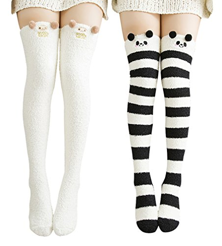 Urban CoCo Women's Cartoon Fuzzy Socks Winter Warm Over Knee High Socks (2 pack-A)