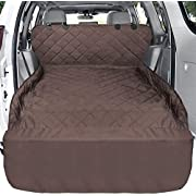 Pet Cargo Cover, F-color Waterproof Dog Seat Cover Mat for SUVs Sedans Vans with Bumper Flap Protector, Non-Slip, Large Size Universal Fit, Brown