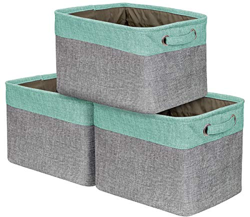 Sorbus Storage Large Basket Set [3-Pack] - 15 L x 10 W x 9 H - Big Rectangular Fabric Collapsible Organizer Bin Box with Carry Handles for Linens, Towels, Toys, Clothes, Kids Room, Nursery (Teal)