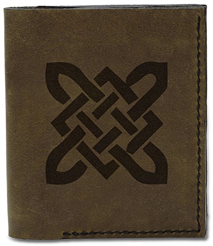 Men's Celtic Circle Tattoo -4 Genuine Leather Flipout Slim ID Wallet MHLT_04