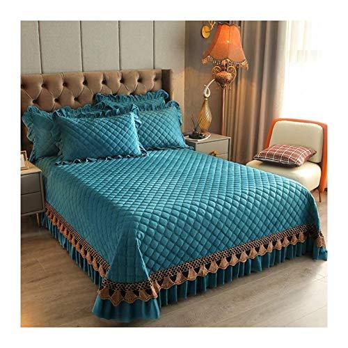 Edredones de lujo algodón acolchado colchas / cristal terciopelo colchas lanzar suave cómodo 3 piezas ropa de cama con decoración de encaje decoración cálida hoja de cama gruesa,Verde,250*270cm