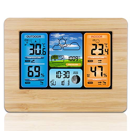 Weather Station Digital Forecast Stations with Alert and Temperature/Humidity/Barometric/Forecast/Moon Phase/Alarm Clock, LCD Digital Weather Station with Outdoor Sensor for Home Office