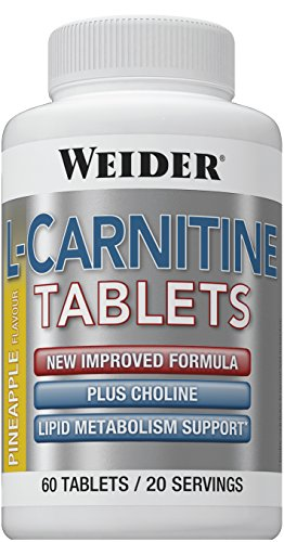Weider L-Carnitine Supplement Tablets, Pineapple, 60-Count