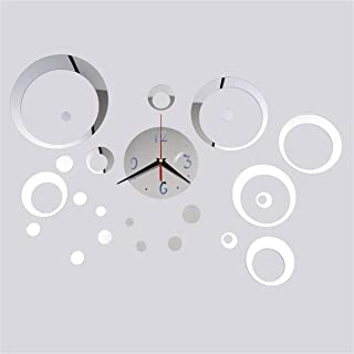 Delicacygoodsae 23 Pcs/Set Acrylic Silver DTY Home Decoration Mirror Reflection Wall Stickers Clock Living Room Wall Clock